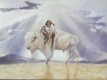femme bison blanc